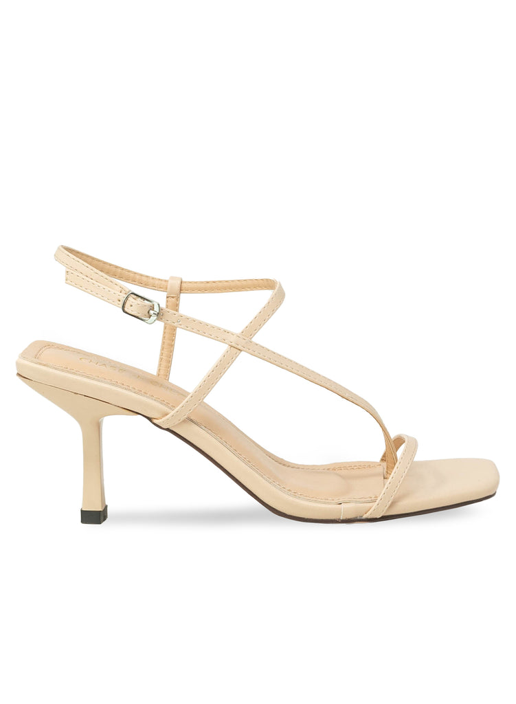 """Skittle""- Women's Nude Strappy Kitten Heel"