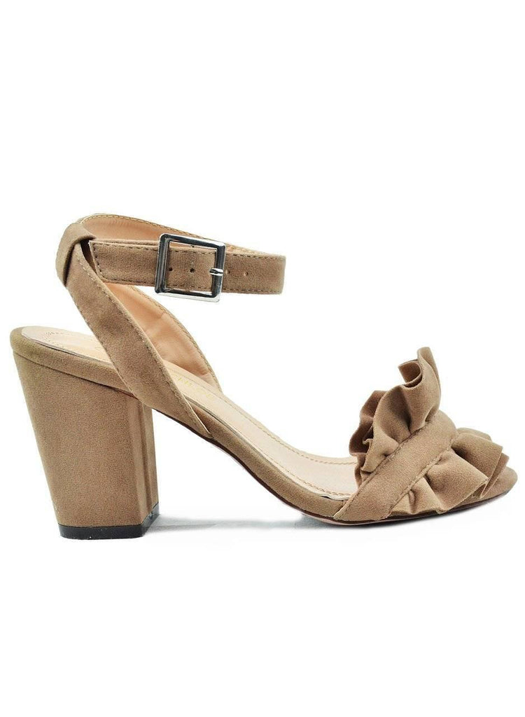 """MY PRETTY TO YOURS""- TAUPE LOW HEELED SANDAL - Lala Shoes"