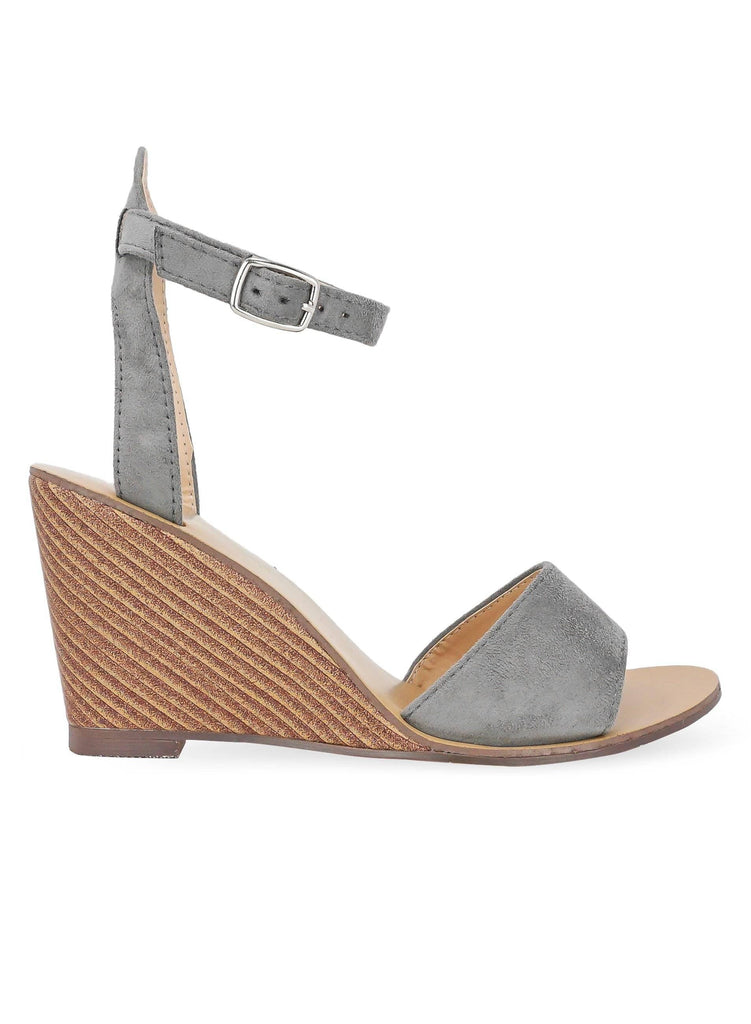 """COOL FOR THE SUMMER"" - WOMEN'S ANKLE STRAP SUEDE WEDGES - Lala Shoes"