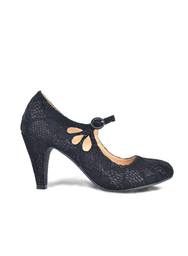 """MARY JANES RULES"" - BLACK LACE PUMP SHOES"