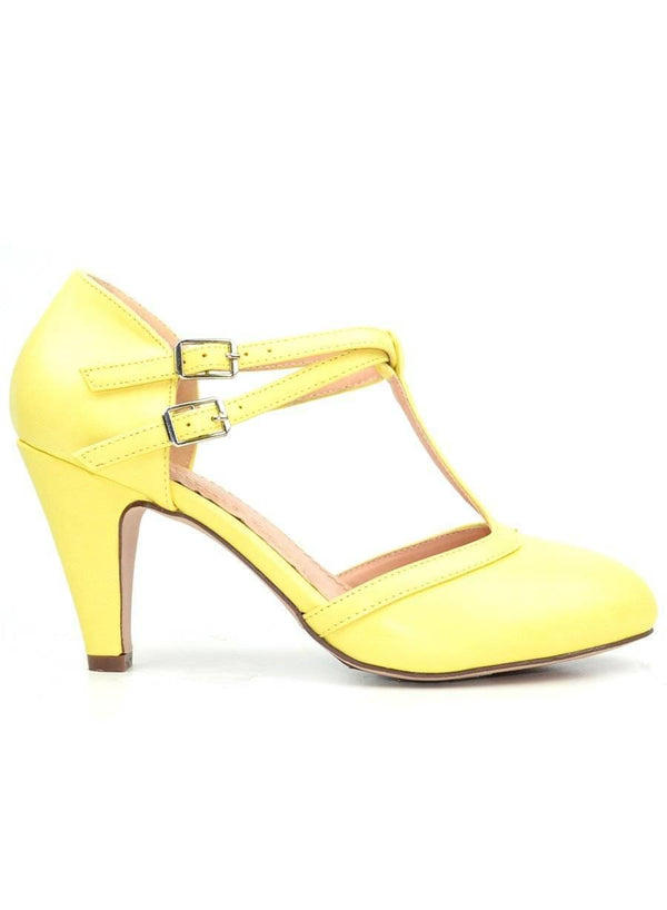 """RETRO YOUR CLEAR CHOICE"" - YELLOW PUMP SHOES - Lala Shoes"