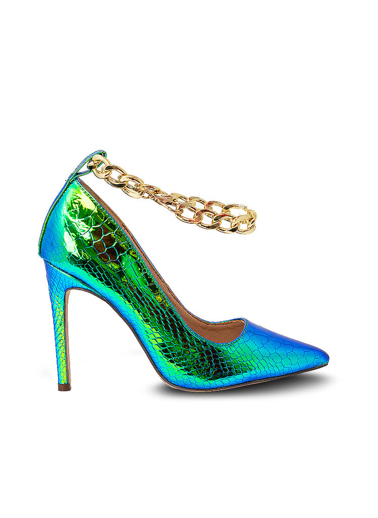 """CURLY""- MERMAID RHINESTONES PUMPS"