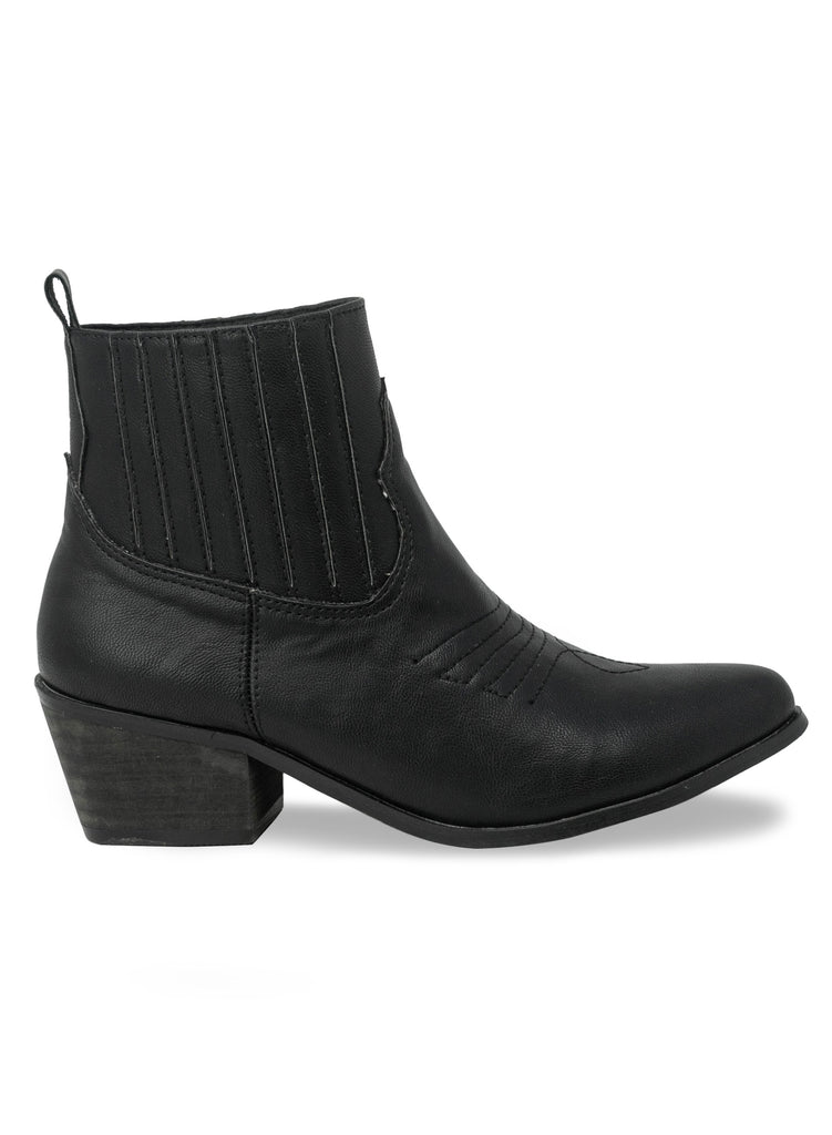 """Jolly""- Women's Black Stacked Heel Ankle Boot"