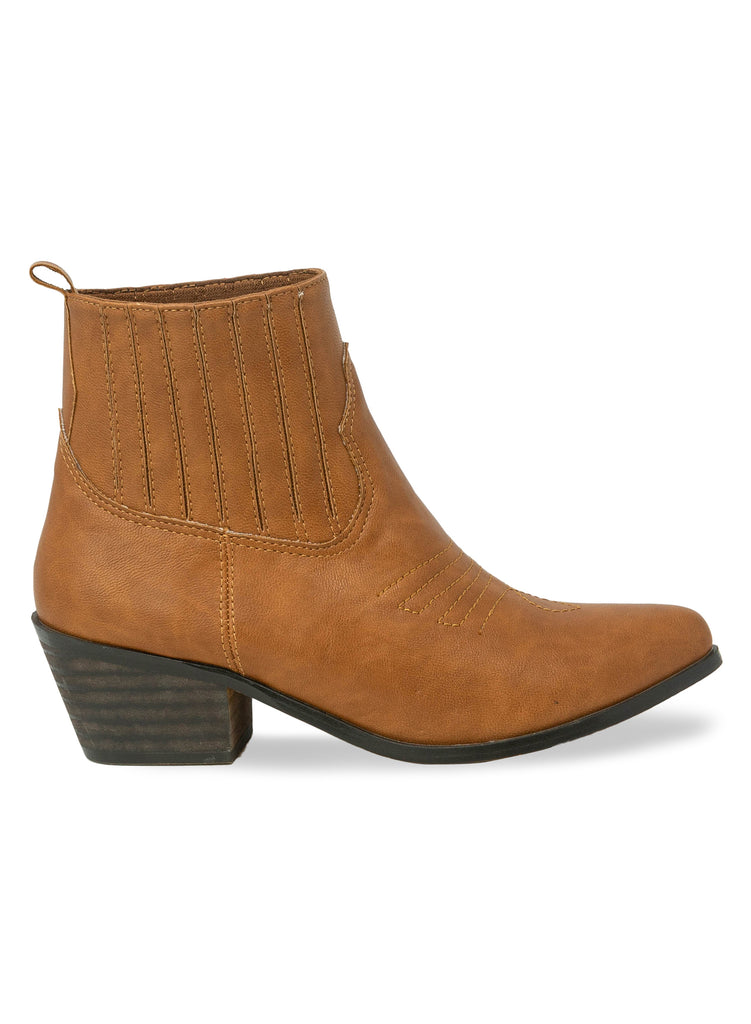 """Jolly""- Women's Tan Stacked Heel Ankle Boot"
