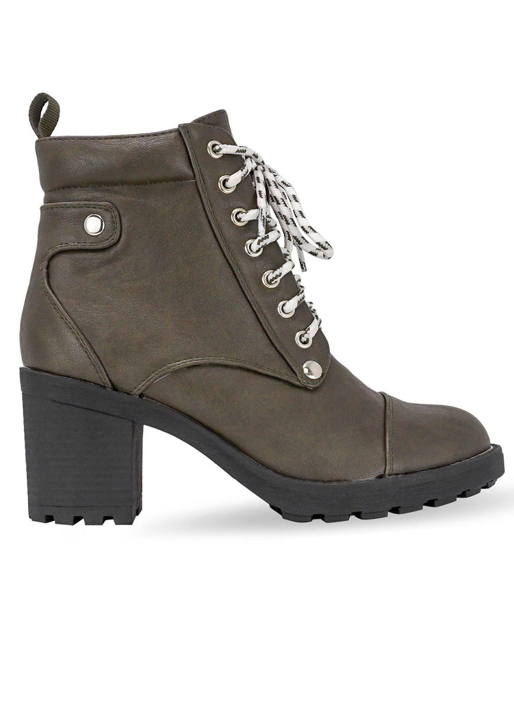 """LOUISE WALLIS"" - CHUNKY HEEL COMBAT BOOT - Lala Shoes"