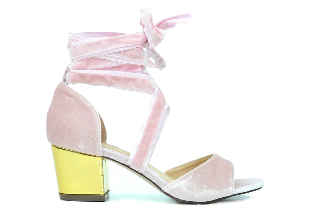 """WRAPPED UP WITH PROM"" - PINK BLOCK HEEL SANDAL"