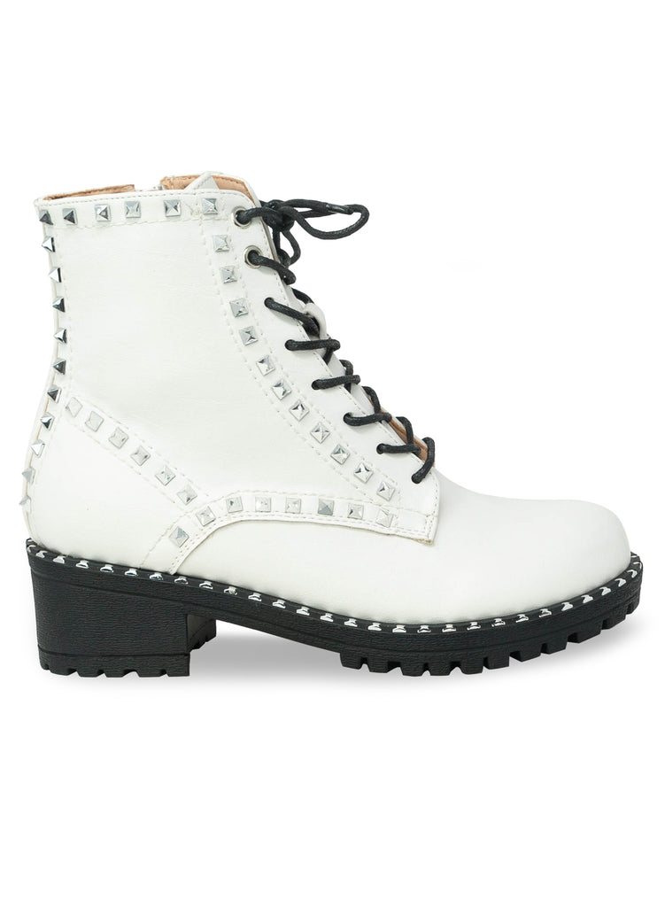 """Starfire""- Women's White Studded Lace Up Combat Boot"