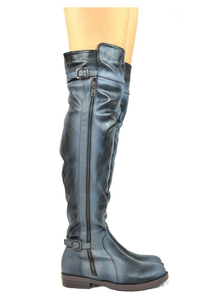 """ADVENTURES""-FAUX LEATHER RIDING BOOTS - Lala Shoes"