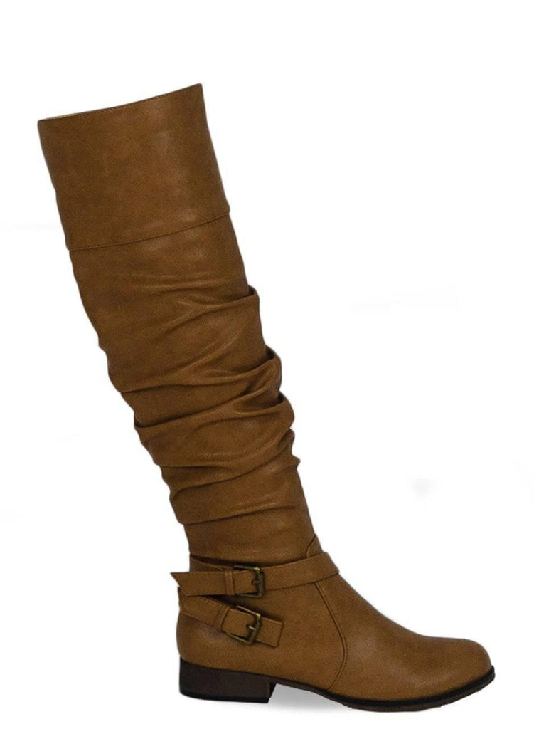 """WAY UP"" SLOUCHY KNEE HIGH BOOTS - Lala Shoes"