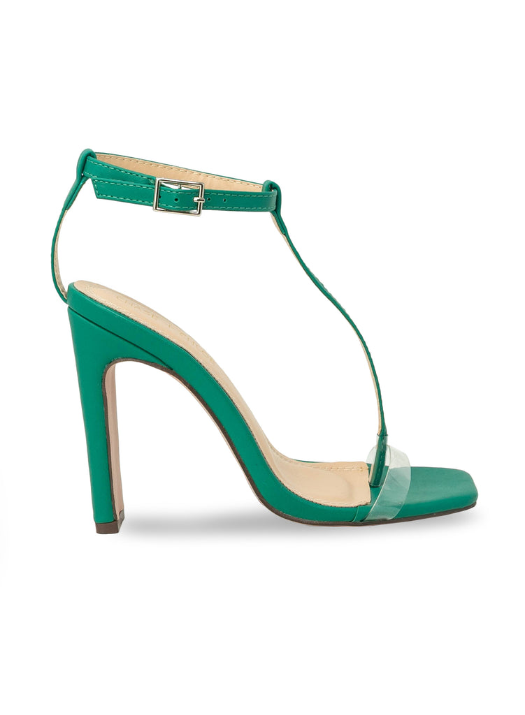 """Willow""- Women's Green Ankle T-Strap Block Heel"