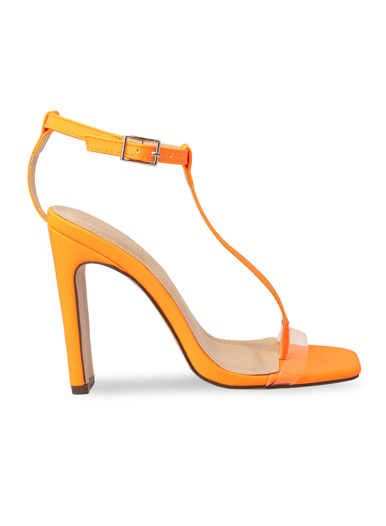 """Willow""- Women's Neon Orange Ankle T-Strap Block Heel"