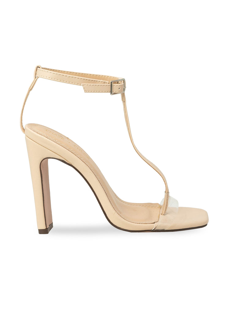 """Willow""- Women's Nude Ankle T-Strap Block Heel"