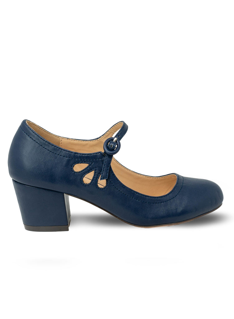 """Drizzle""-Women's Navy Mary Janes Tear Drop Pump"