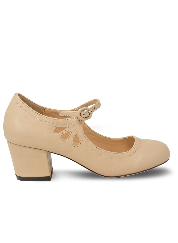"""Drizzle""-Women's Nude Mary Janes Tear Drop Pump"