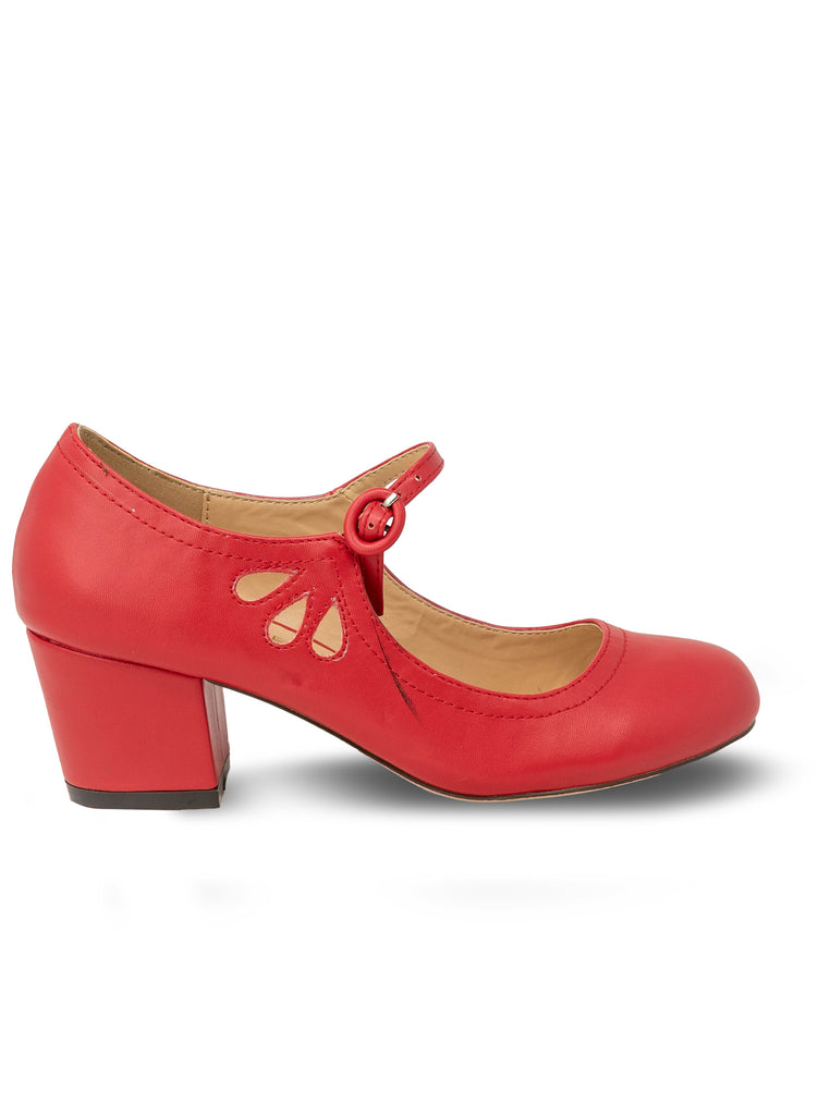 """Drizzle""-Women's Red Mary Janes Tear Drop Pump"