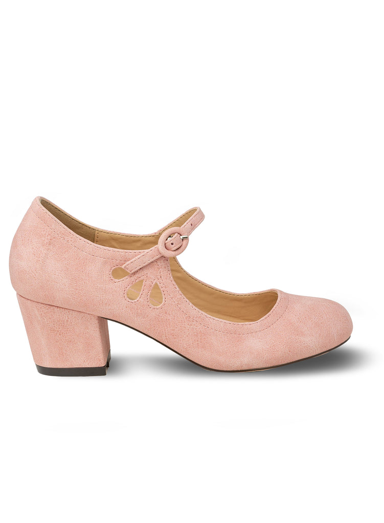 """Drizzle""-Women's Rose Pink Mary Janes Tear Drop Pump"