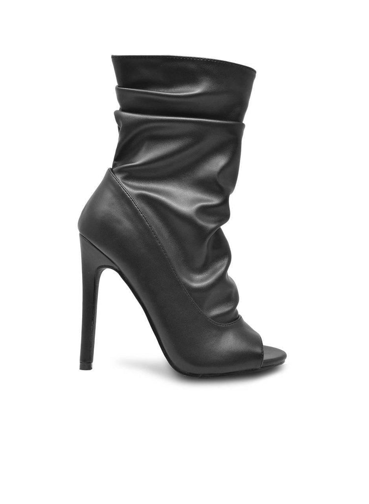 """SLOWDOWN"" STILETTO OPEN TOE ANKLE BOOTIE - Lala Shoes"