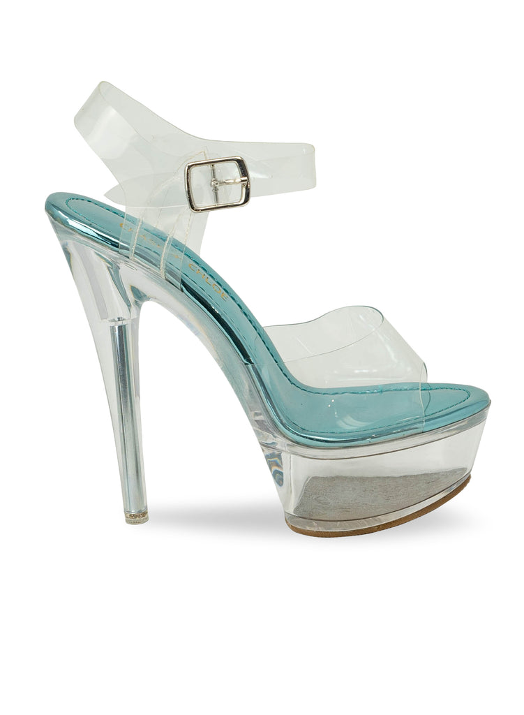 """Trinity"" - Women's Blue Slim Clear Heel Platform"