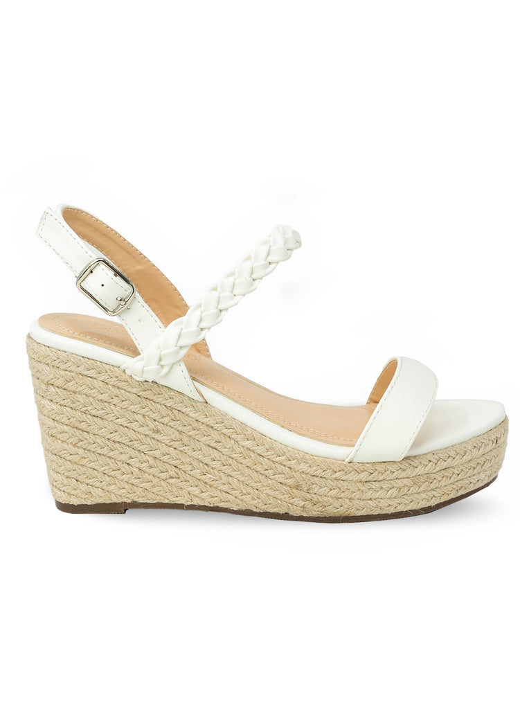 """HATTIE"" - WHITE WEDGE BRAID STRAP DETAIL"