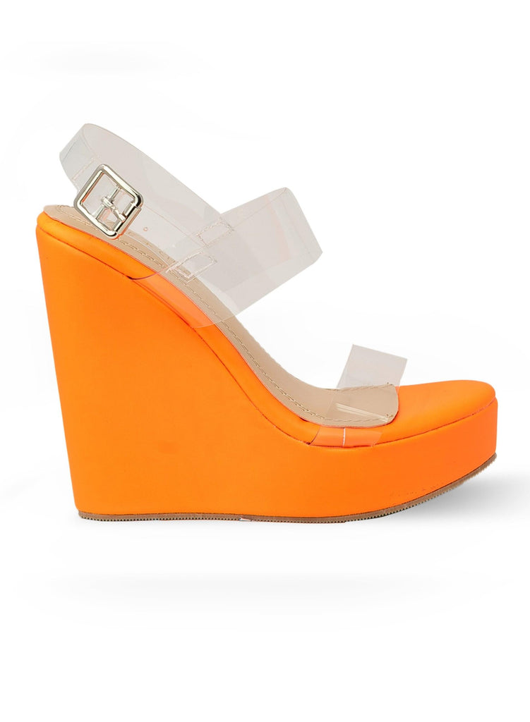 """KALISTA"" - WEDGE WITH CLEAR STRAP - Lala Shoes"