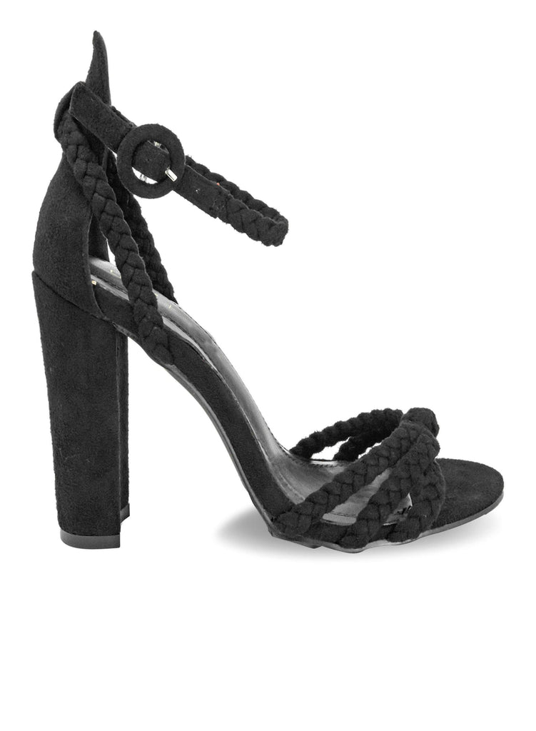 """KENDALL"" - WOMEN'S ROPE STRAP CHUNKY HEELS - Lala Shoes"