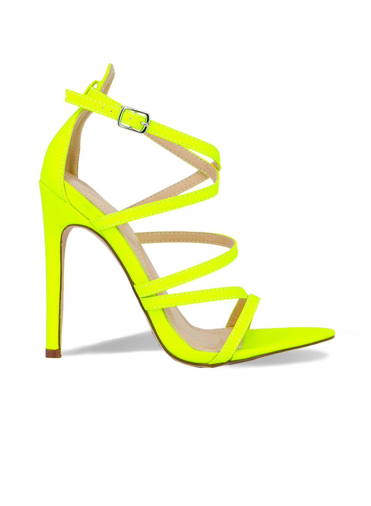 """Duchess""-Women's Neon Yellow Strappy Heel"