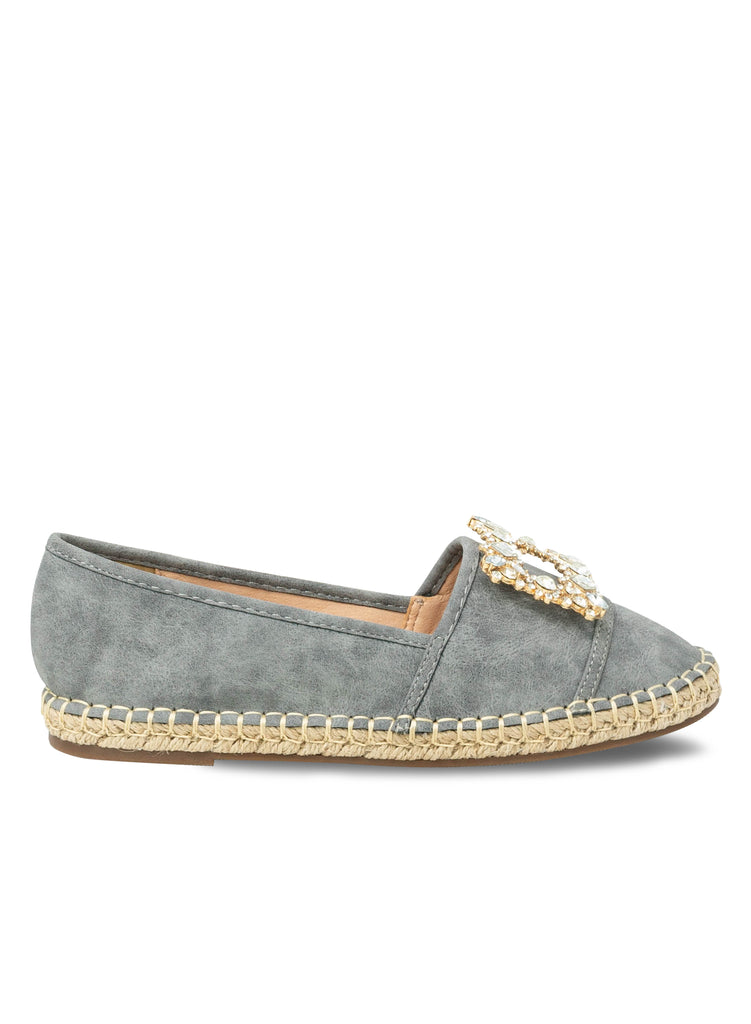"""NADA EASTON""- GREY ESPADRILLE FLAT SQUARED EMBELLISHMENT"