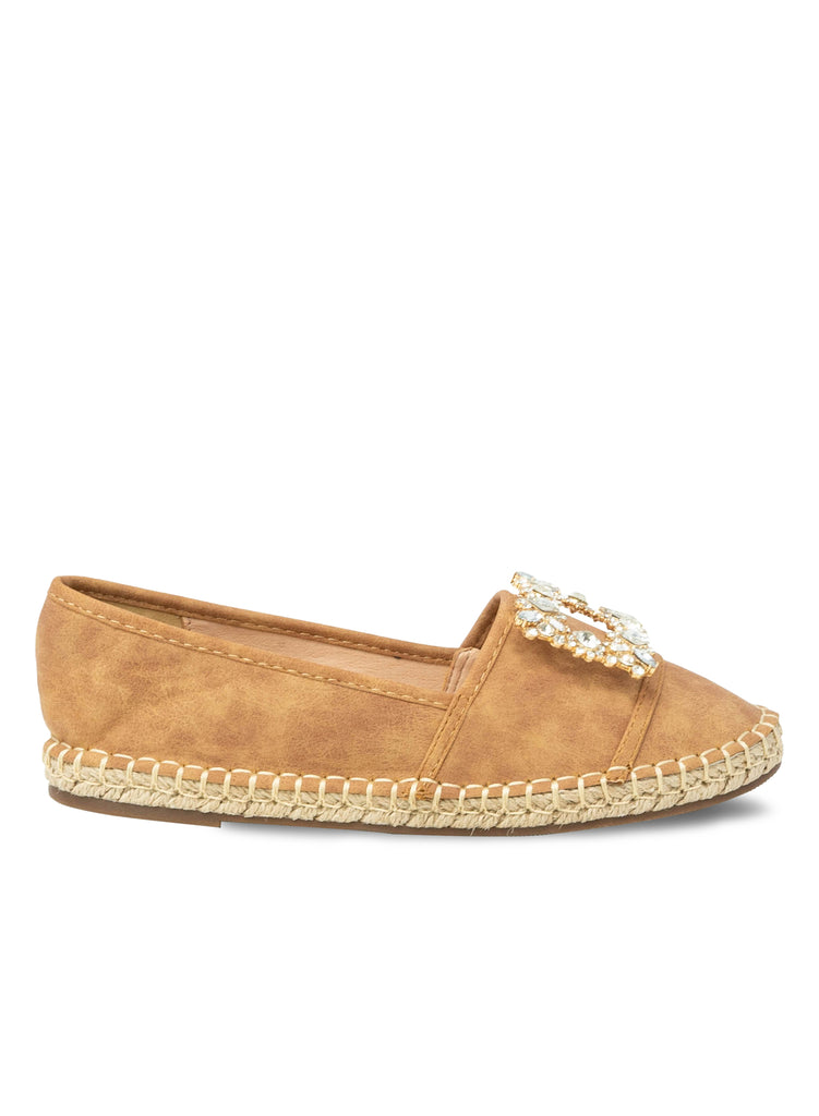 """NADA EASTON""- TAN ESPADRILLE FLAT SQUARED EMBELLISHMENT"