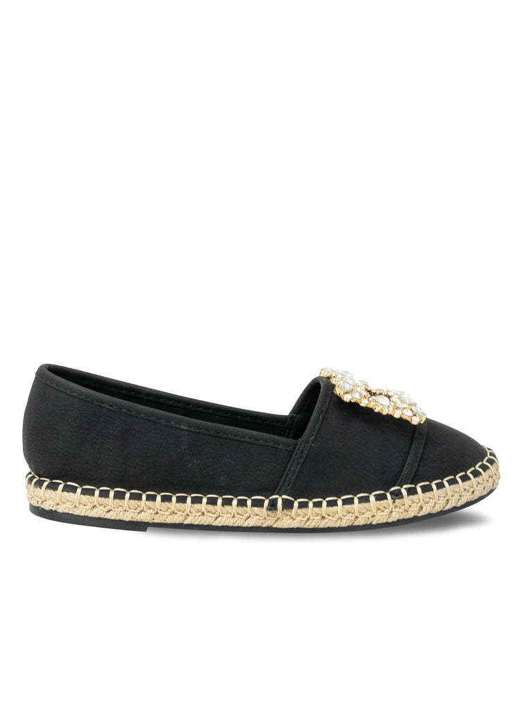 """NADA EASTON""- ESPADRILLE FLAT SQUARED EMBELLISHMENT - Lala Shoes"