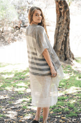 """FEATHER LIGHT""-BLACK/WHITE MULTI-STRIPE KIMONO"