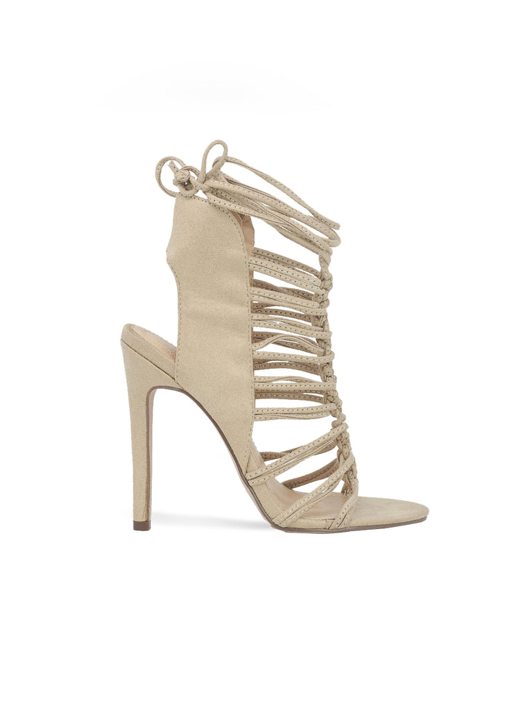 """Twister""-Women's Nude Sling Back Lace Up Heel Sandal"