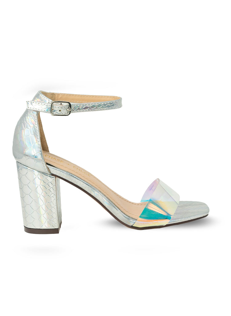 """Muffy""- Women's Silver Ankle Strap Chunky Heel Sandal"