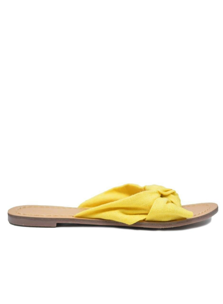 """SUNNY SIDE"" KNOT FLAT SANDALS - Lala Shoes"