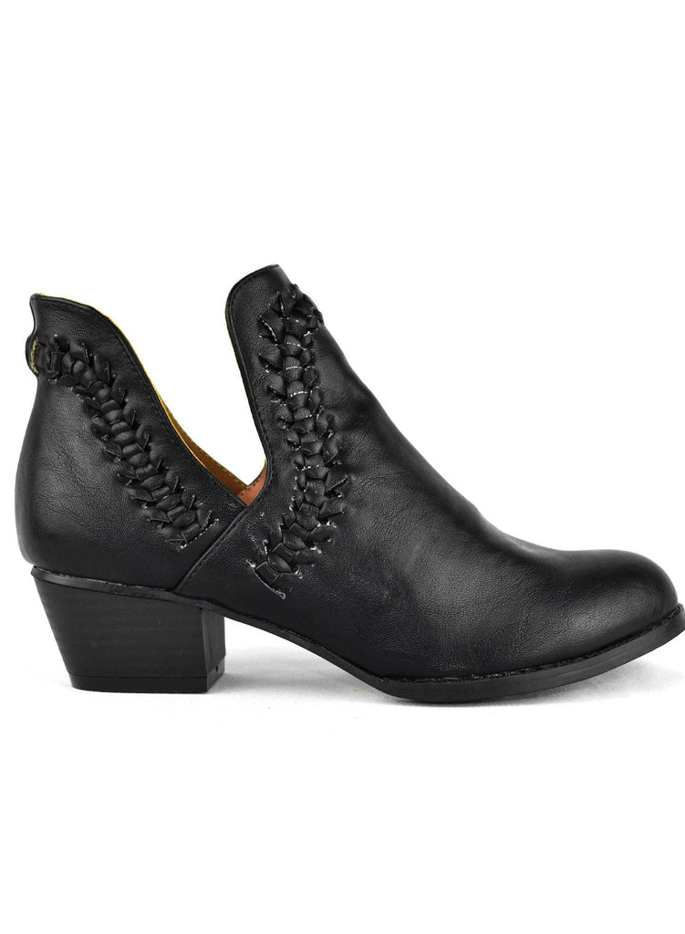 """CLOSELY KNITTED""-FAUX LEATHER ANKLE BOOTIE - Lala Shoes"