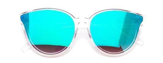 """SHADY GROOVE""-REFLECTIVE TURQUOISE SUNGLASSES - Lala Shoes"