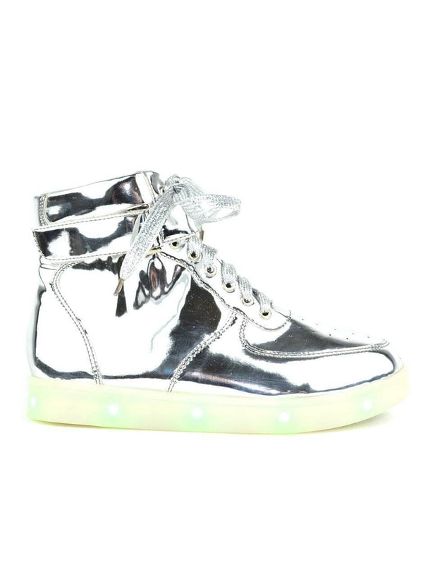 """TWINKLE, TWINKLE"" LED HI-TOP SILVER SNEAKERS - Lala Shoes"