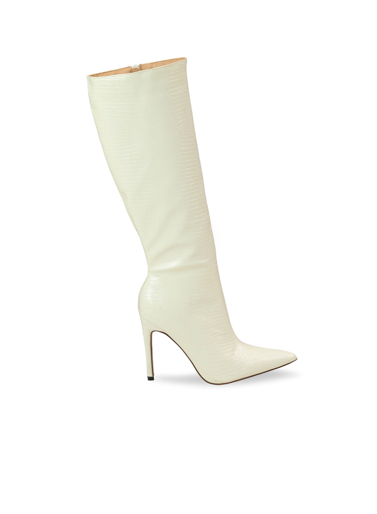 """Champ"" - Women's White Slim Heel Tall Boot"