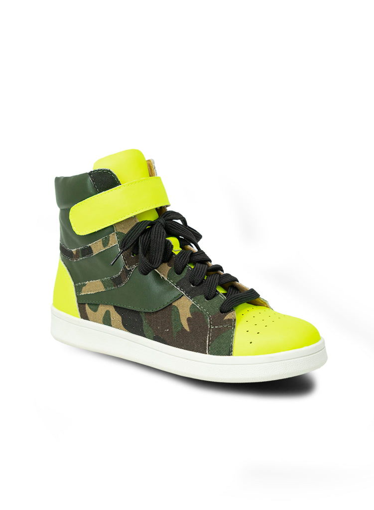 """Daffodil""- Women's Green High Top Sneaker"