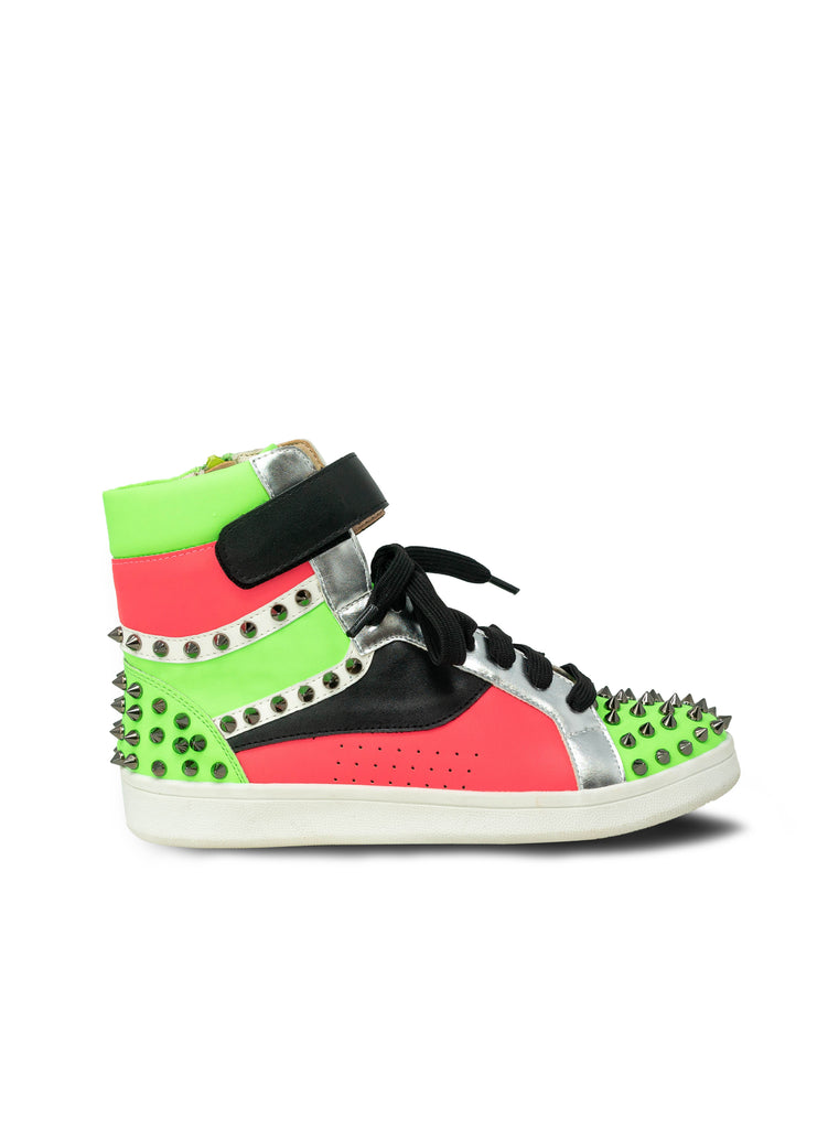 """Dahlia""- Women's Neon Pink Multi Color Studded Sneaker"
