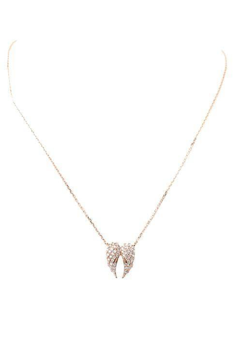 """MAKE ROOM FOR THE ANGEL""-ROSE GOLD PENDANT NECKLACE - Lala Shoes"
