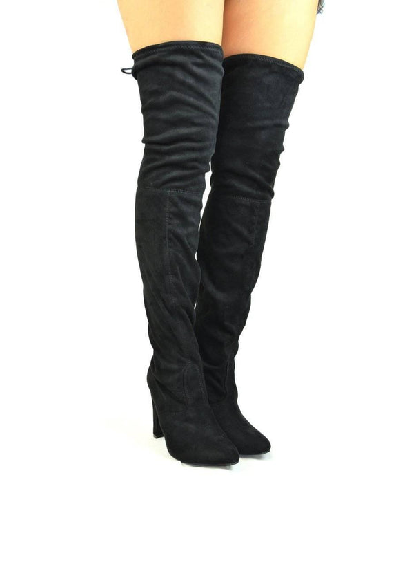 """BECOME MORE CLASSY""- BLACK OVER-THE KNEE BOOT - Lala Shoes"