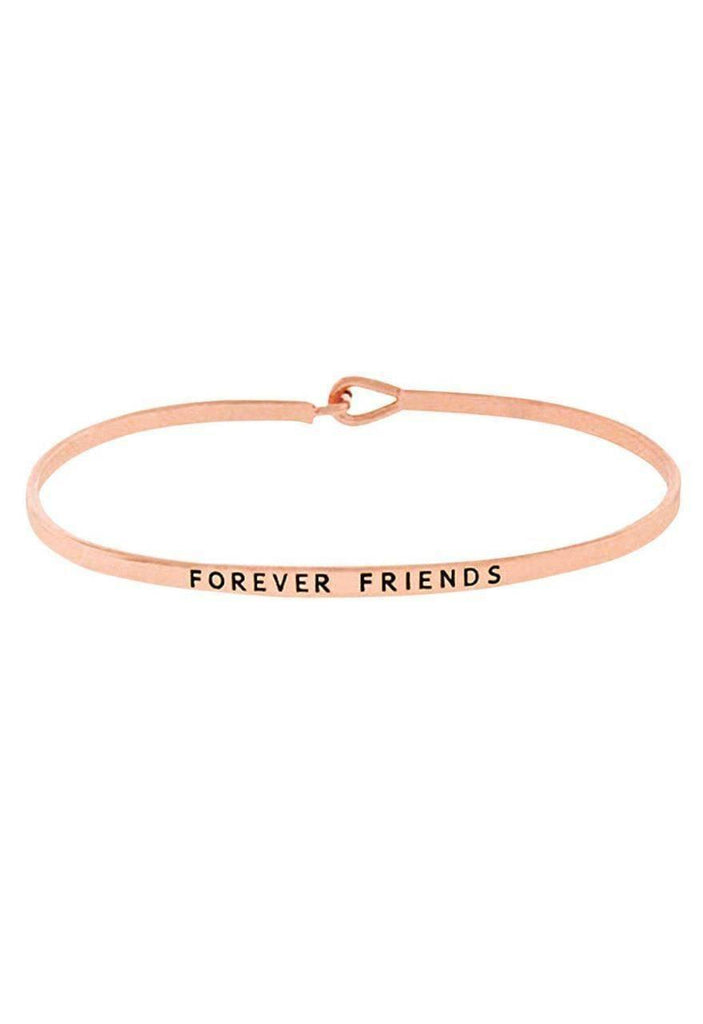 """FOREVER FRIENDS""-ROSE GOLD BANGLE - Lala Shoes"