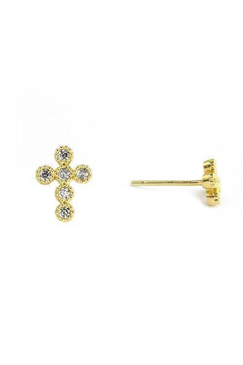 """WHERE IS YOUR CROSS?""-GOLD CROSS EARRING"