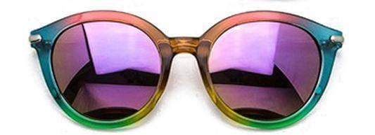 """SEE LIFE COLORED""-REFLECTIVE ROUND LAVENDER SUNGLASSES - Lala Shoes"