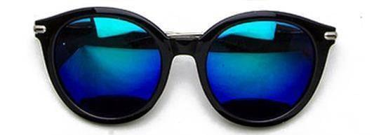 """SEE LIFE COLORED""-REFLECTIVE ROUND NAVY SUNGLASSES - Lala Shoes"