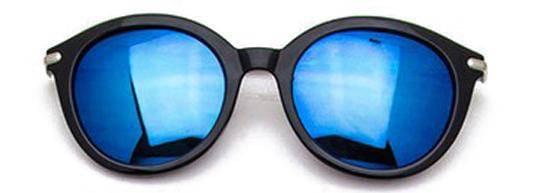 """SEE LIFE COLORED""-REFLECTIVE ROUND BLUE SUNGLASSES"