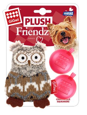GiGwi Mainan Anjing - Plush Friendz Owl Grey and Brown