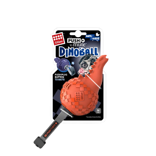 GiGwi Mainan Anjing - Push To Mute Dinoball Apatosaurus Orange