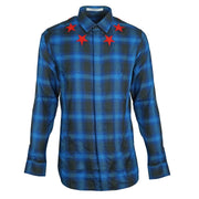 Givenchy Blue Check Star Detail Shirt