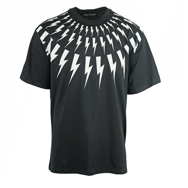 Neil Barrett Lightning Bolt Easy Fit Oversize Black Tee